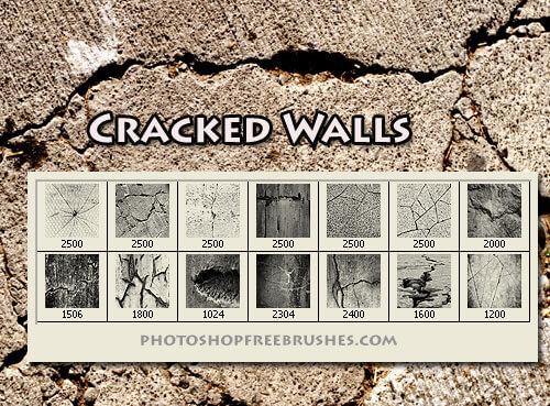 Кисти имитации трещин на стенах в Фотошопе