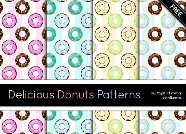 Паттерны с пончиками для создания детских фонов в Фотошопе
