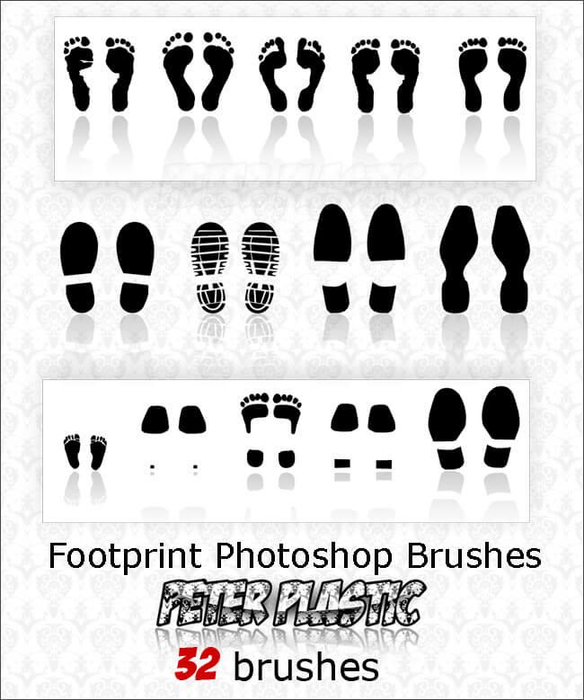 Кисти для рисования человеческих следов в Фотошопе