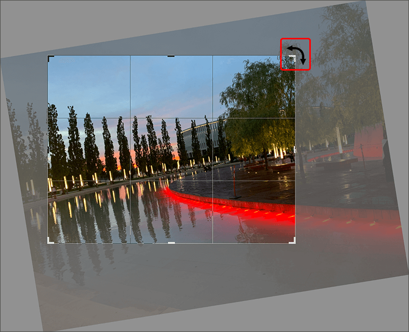 Поворот и кадрирование изображения с помощью инструмента Рамки в Photoshop