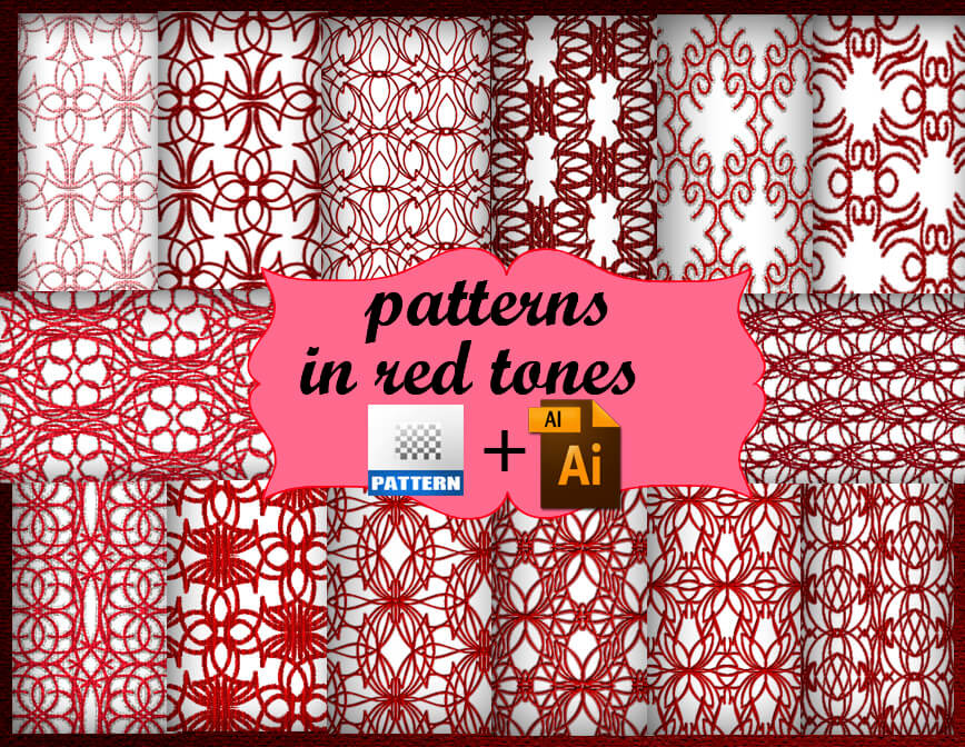 Паттерны для создания красных узорных фонов в Фотошопе