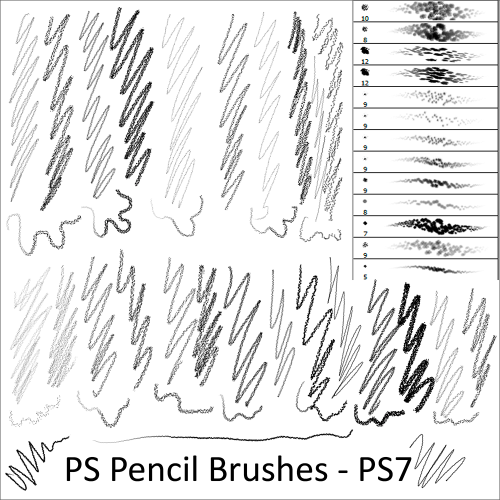Кисти с различными карандашами для Фотошопа