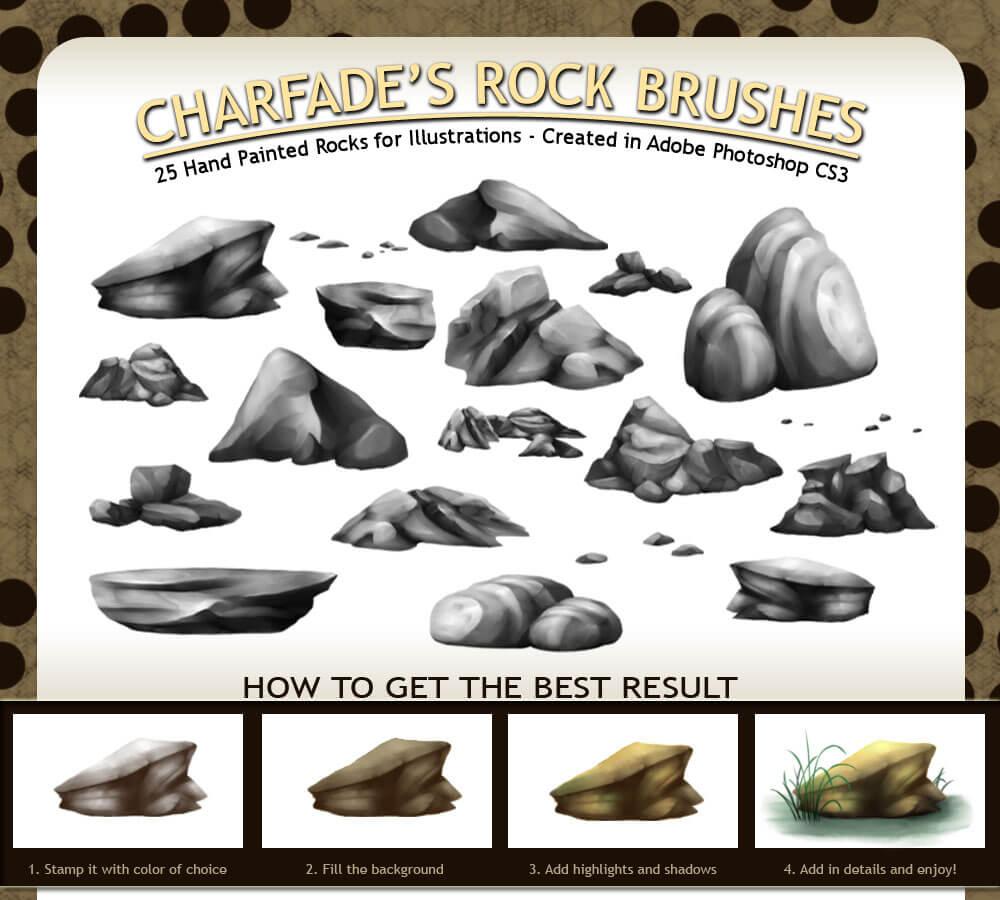 Кисти с различными камнями и валунами для Фотошопа