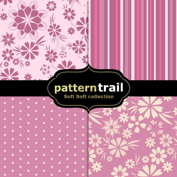 Паттерны с нежными розовыми узорами для Фотошопа