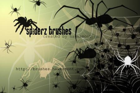 Кисти с пауками и паутиной для Фотошопа
