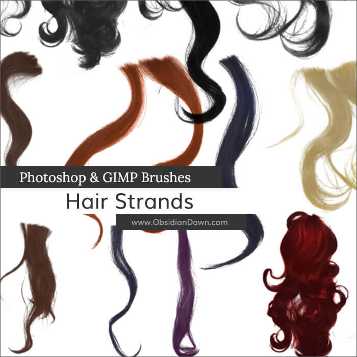 Кисти с волнистыми прядями волос для Фотошопа