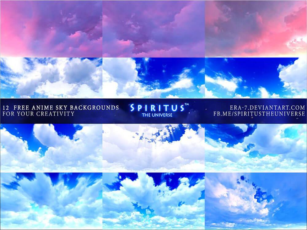 Красочные фоны неба в стиле аниме для Фотошопа