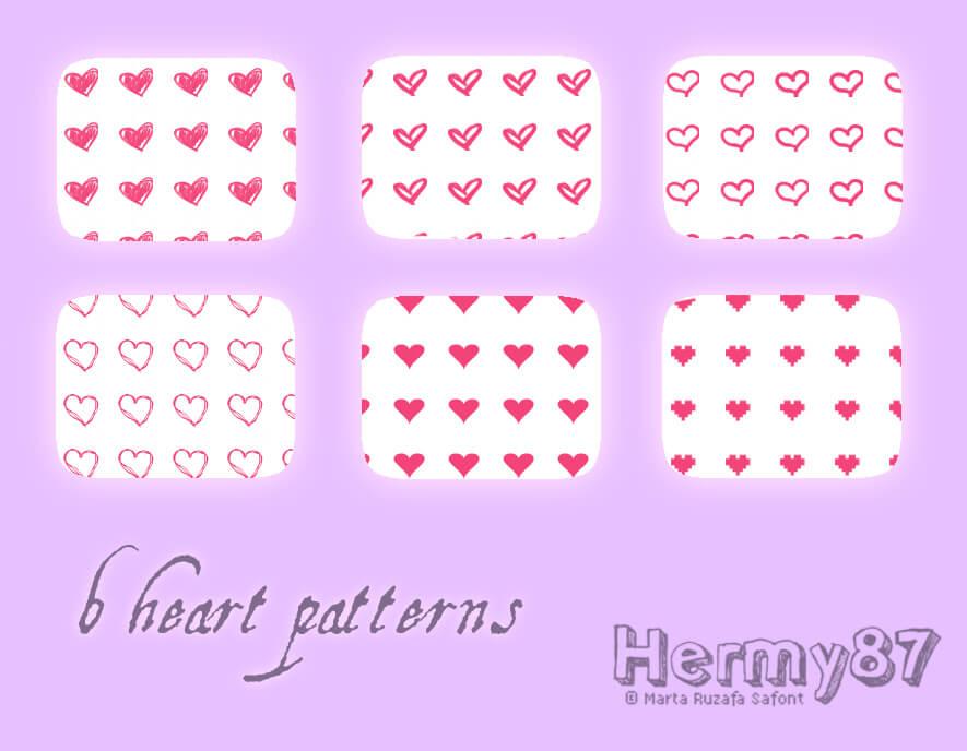 Паттерны с сердечками на прозрачном фоне для Фотошопа