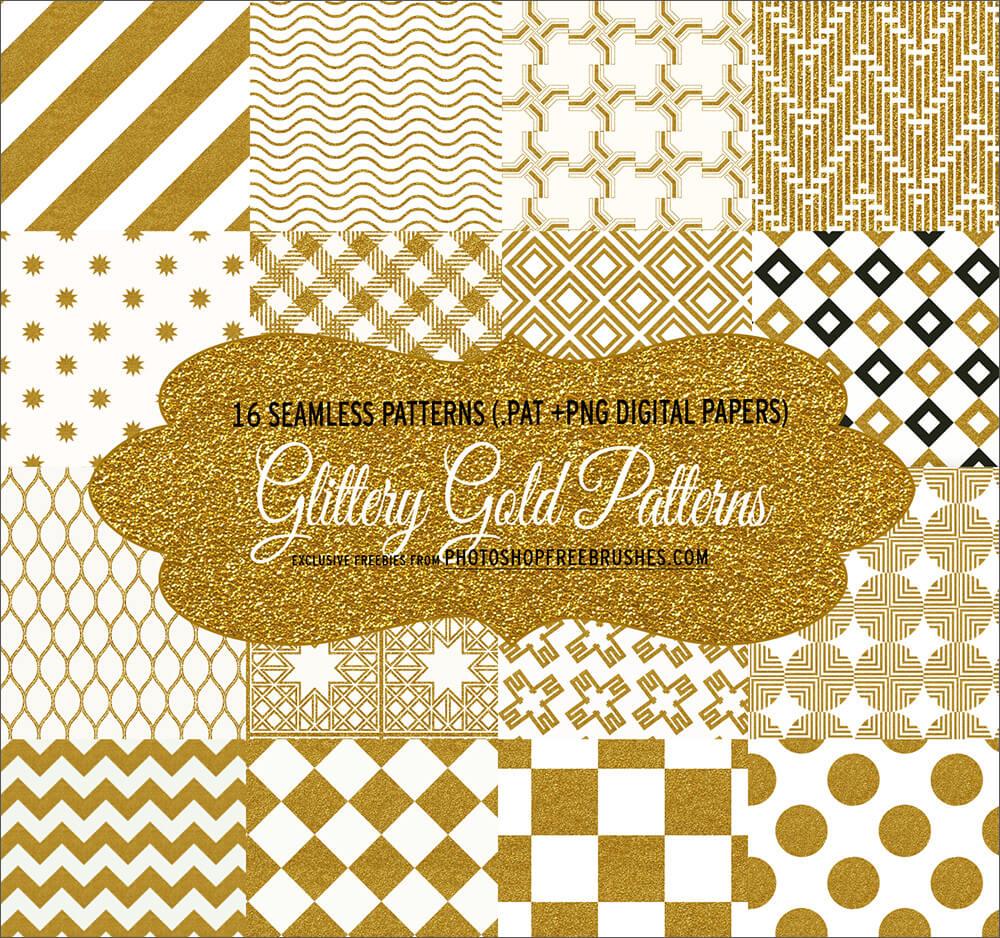 Паттерны для создания фонов с текстурой золотого глиттера в Фотошопе
