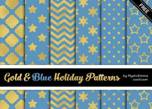 Паттерны для создания фонов в голубых и золотых цветах в Фотошопе