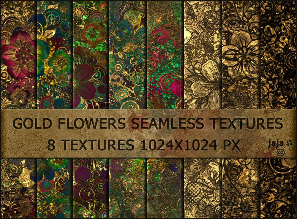 Роскошные фоны с позолоченными цветами для Фотошопа