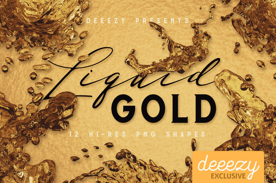 Прозрачные фоны с жидким золотом для Фотошопа