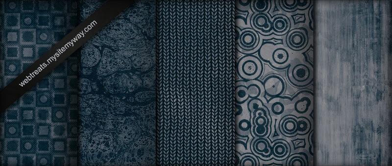 Паттерны с темно-синими гранжевыми узорами для Фотошопа
