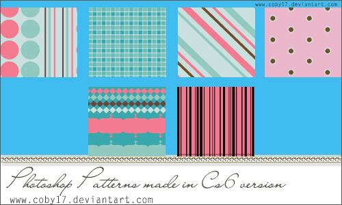 Паттерны с розовыми и голубыми узорами для Фотошопа