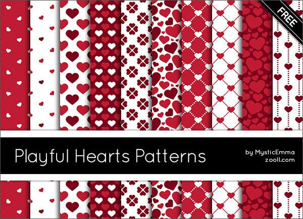 Паттерны для создания фонов с сердечками в Фотошопе