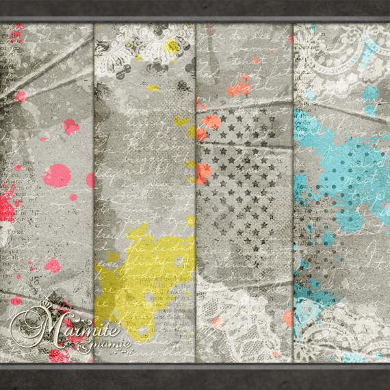 Яркие серые фоны с художественными элементами для Фотошопа