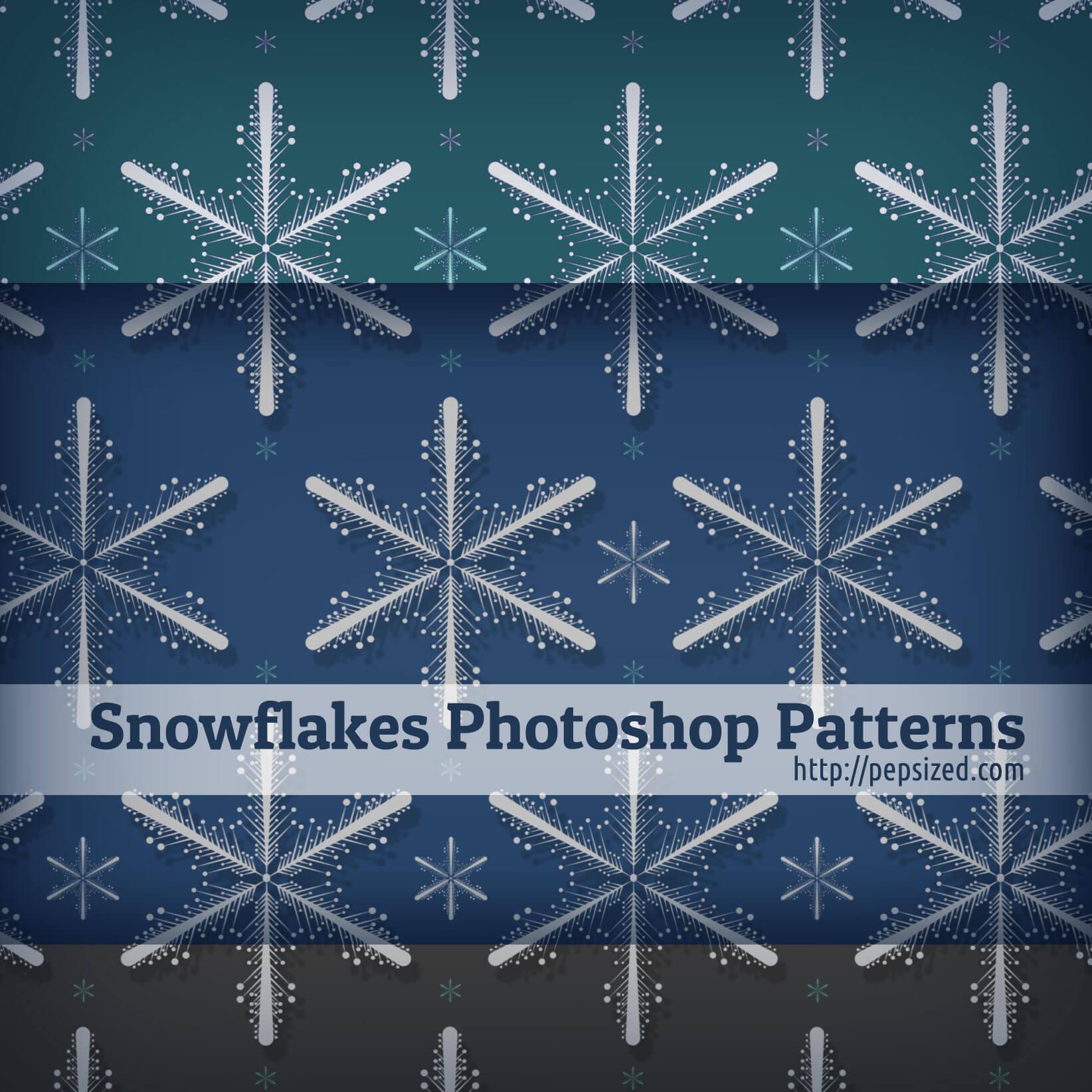 Паттерны для создания фонов с декоративными снежинками в Фотошопе