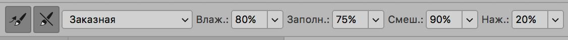 Настройка параметров Микс-кисти в Photoshop