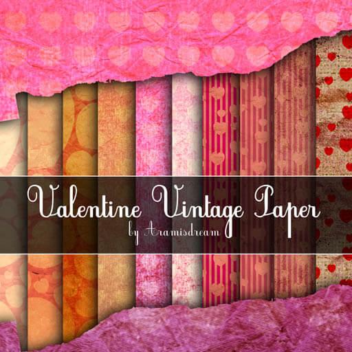 Фоны с винтажными сердечками для оформления валентинок в Фотошопе