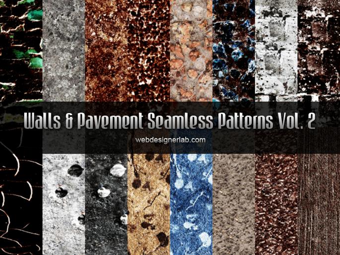 Паттерны с текстурами стен и тротуаров для Фотошопа