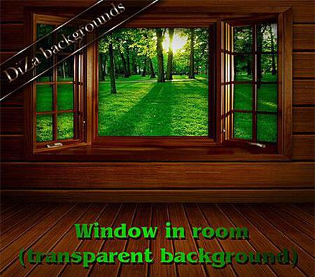 Фоны комнат с прозрачным окном для создания коллажей в Фотошопе