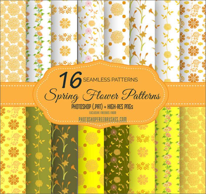 Паттерны с желтыми цветами и узорами для Фотошопа