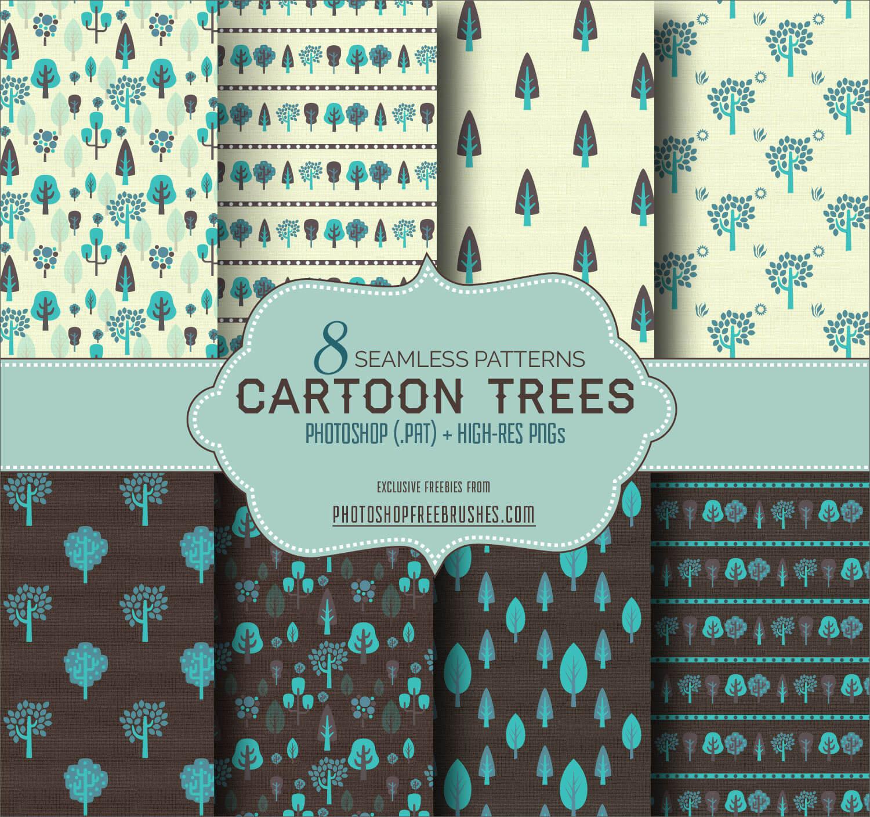 Паттерны для создания фонов с нарисованными деревьями в Фотошопе