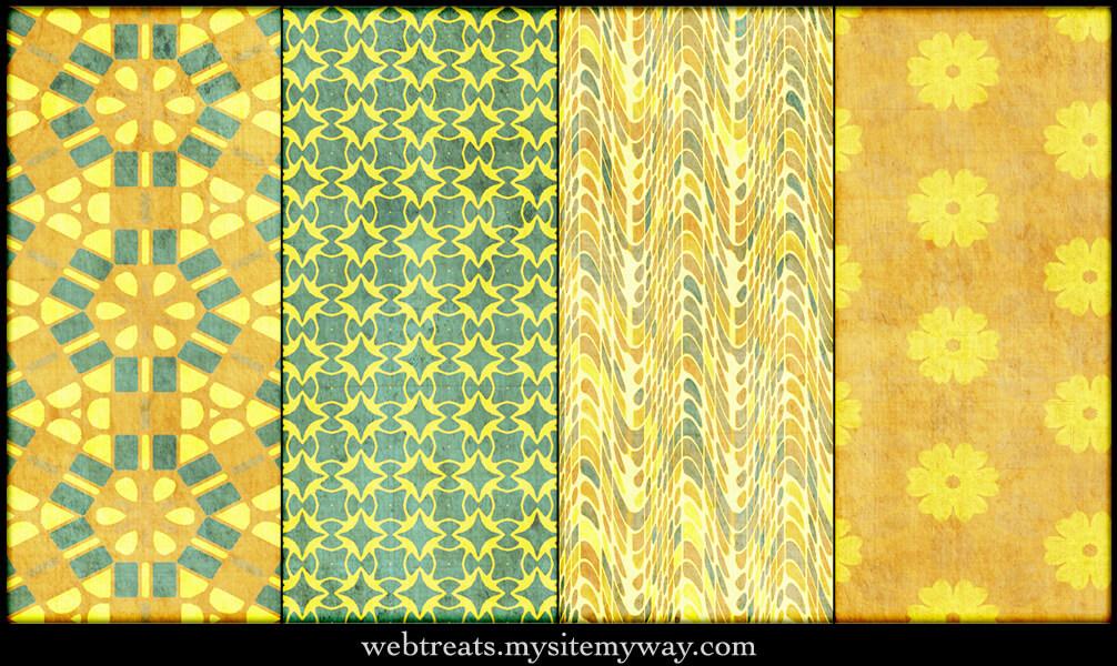 Паттерны для создания фонов в желтых и зеленых тонах в Фотошопе