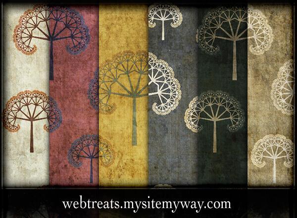 Гранжевые фоны с нарисованными деревьями для Фотошопа