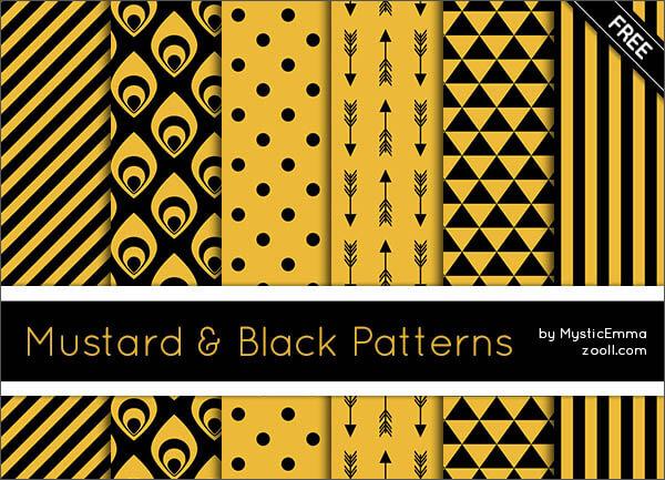 Паттерны для создания фонов с желтыми и черными узорами в Фотошопе