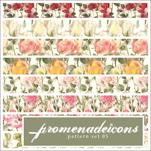 Паттерны для создания фонов с розами разных цветов в Фотошопе