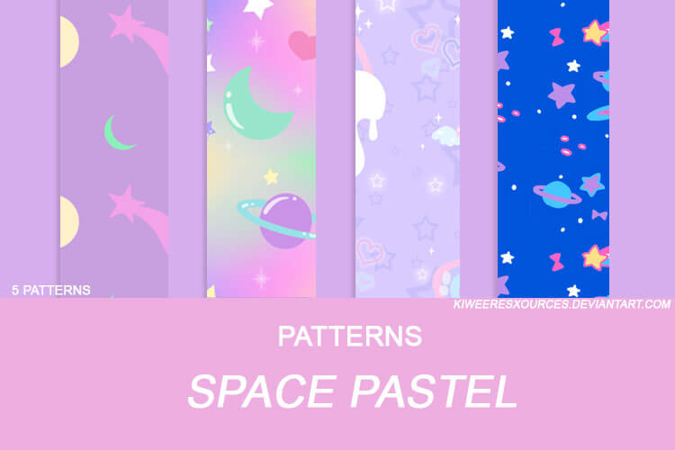 Паттерны для создания мультяшных космических фонов в Фотошопе
