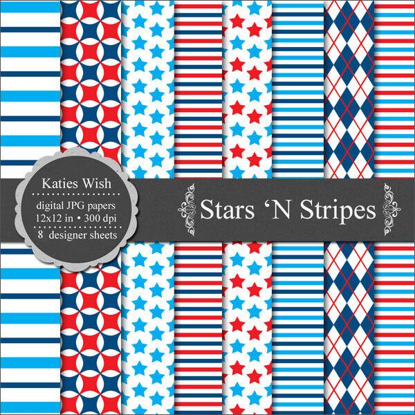 Фоны со звездами, полосками и кружочками для Фотошопа
