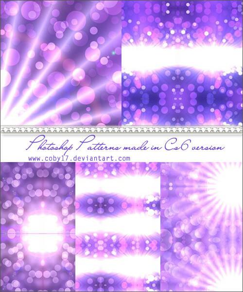 Набор узоров для создания фиолетовых фонов с эффектом боке в Фотошопе