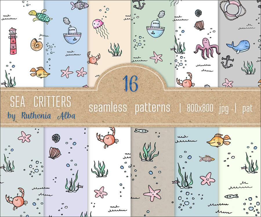 Фоны-паттерны с нарисованными морскими обитателями для Фотошопа