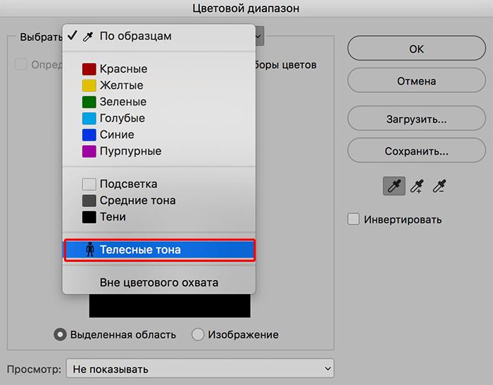 Выбор телесных тонов для выделения через Цветовой диапазон в Фотошопе