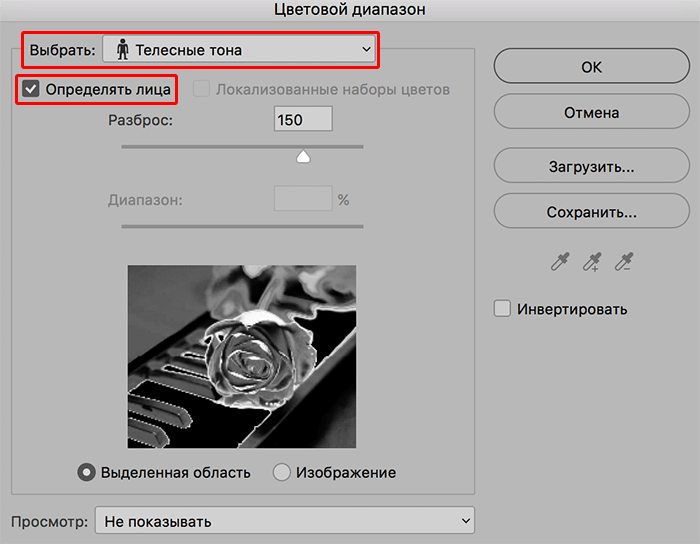 Определение лица при выделении через Цветовой диапазон в Photoshop