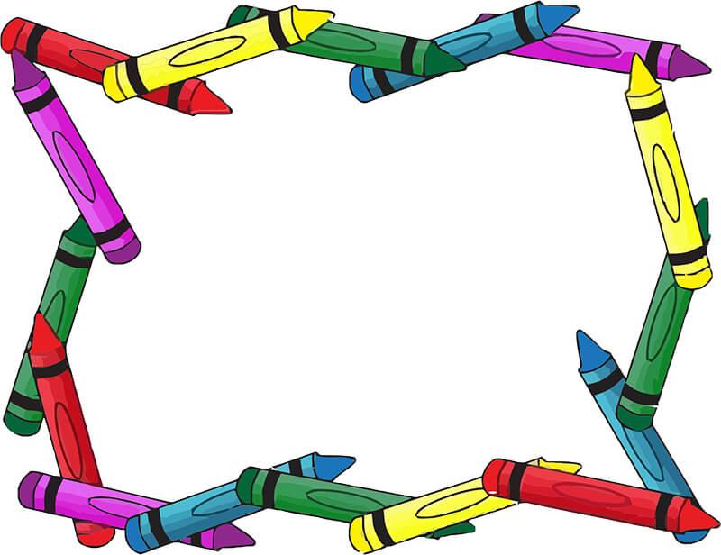 Школьная рамка из разноцветных мелков для Фотошопа