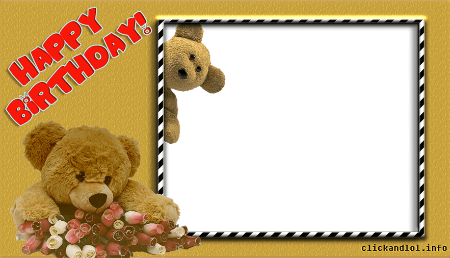 Рамка С днем рождения с плюшевым медвежонком для Фотошопа
