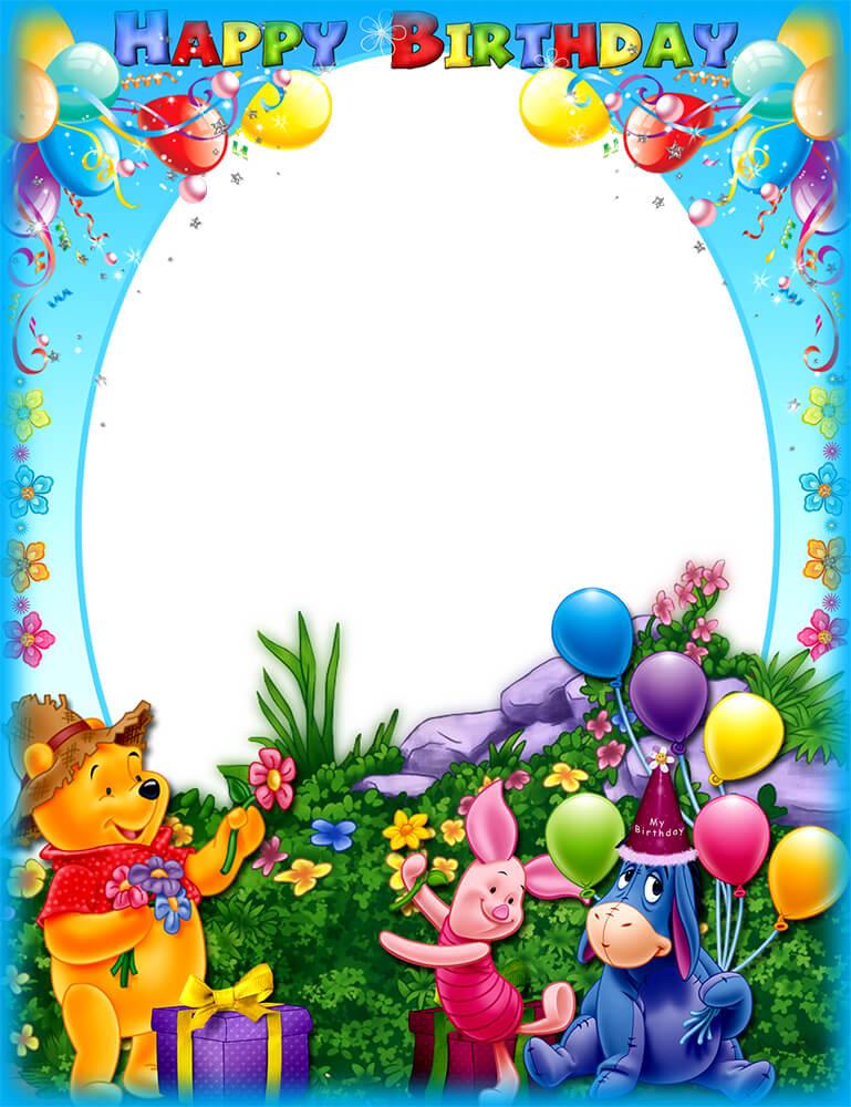 Рамка С днем рождения с Винни-Пухом и его друзьями (для Фотошопа)