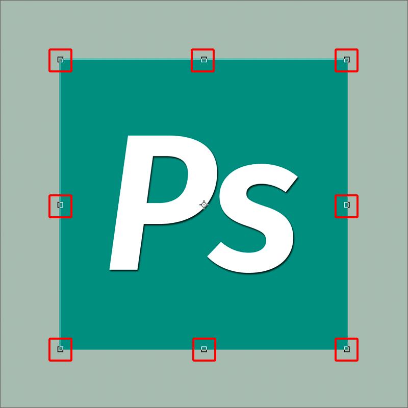 Маркеры для изменения размеров объекта в Photoshop