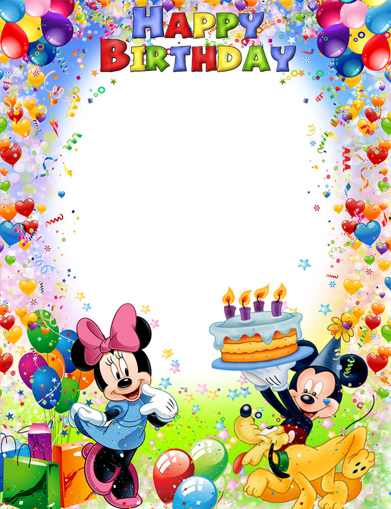 Рамка С днем рождения с Микки Маусом (для Фотошопа)
