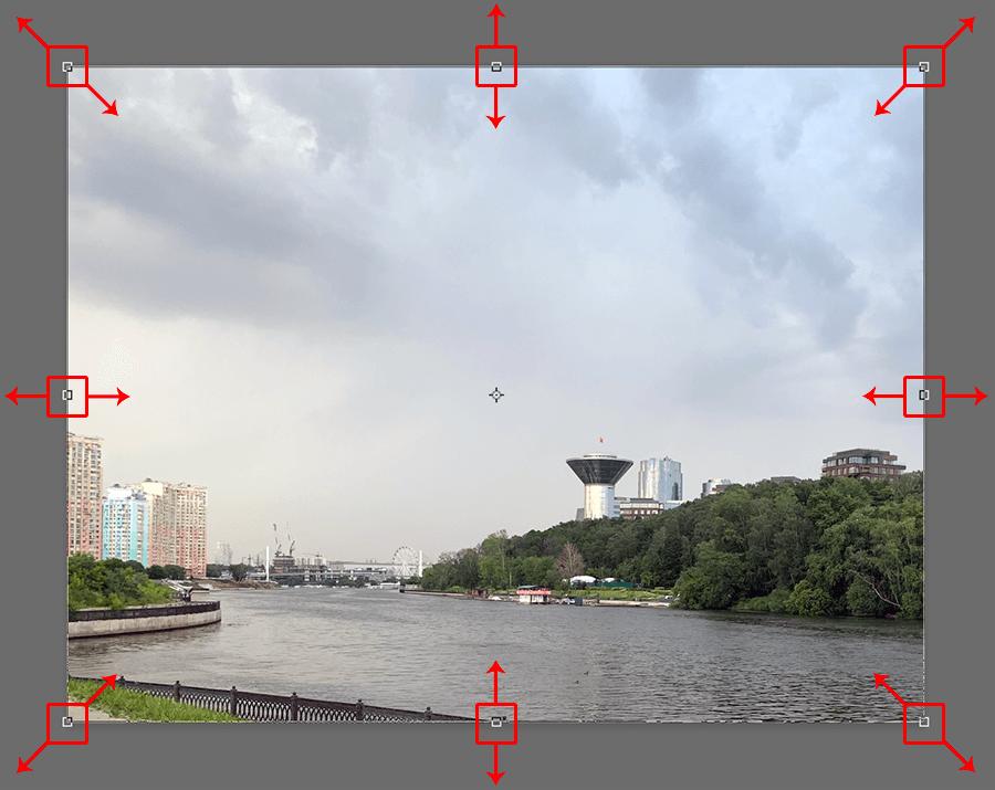 Изменение размера слоя с изображением в Photoshop