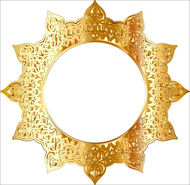 Круглая позолоченная рамка с цветочными узорами для Фотошопа