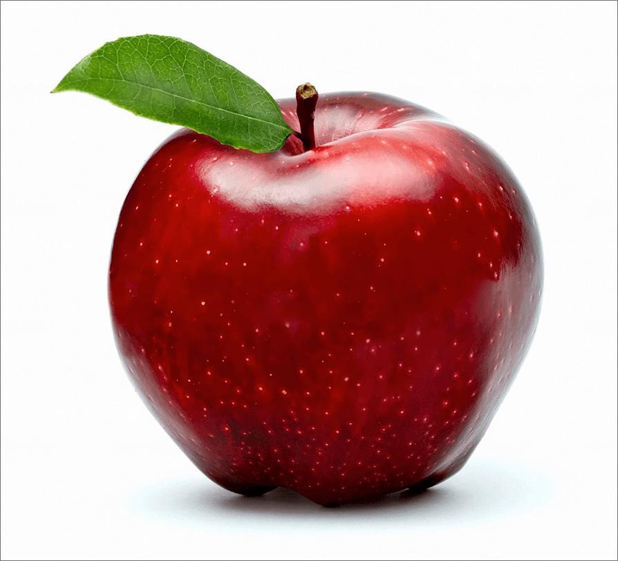 Фото красного яблока на белом фоне