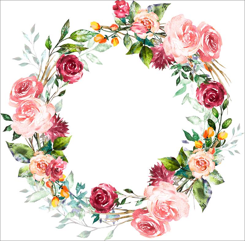 Круглая винтажная рамка с цветами для Фотошопа