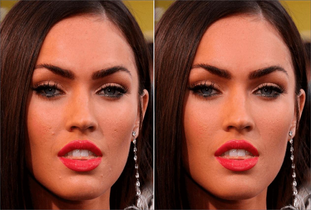 Результат ретуши лица методом частотного разложения в Фотошопе