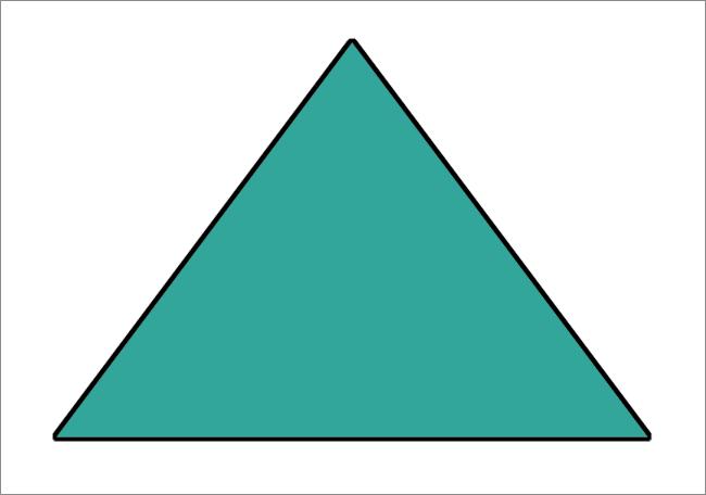 Залитый цветом и обведенный по контуру треугольник нарисованный в Фотошопе