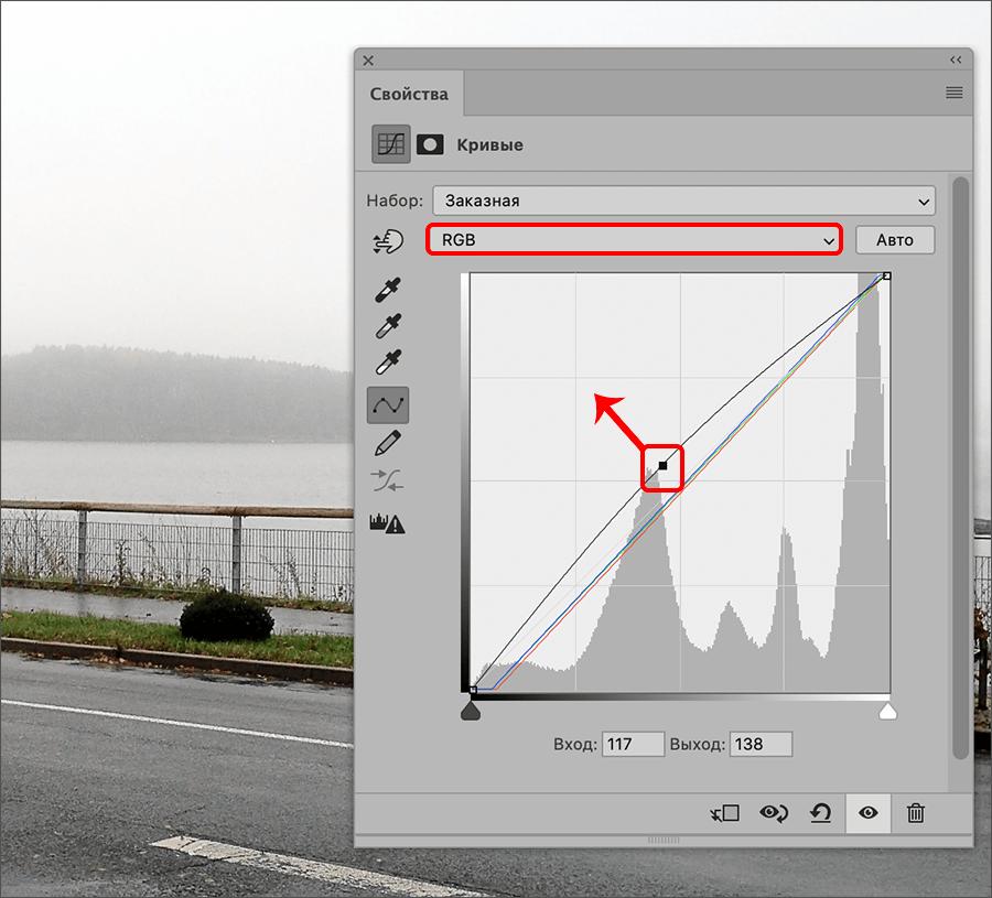 Смещение линии кривой в Фотошопе
