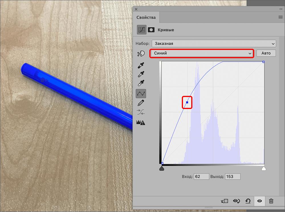 Работа с синим каналом кривых в Фотошопе
